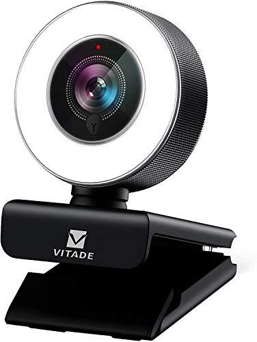 Webcam 1080P Full HD mit Mikrofon und Ringlicht, Vitade 960A...