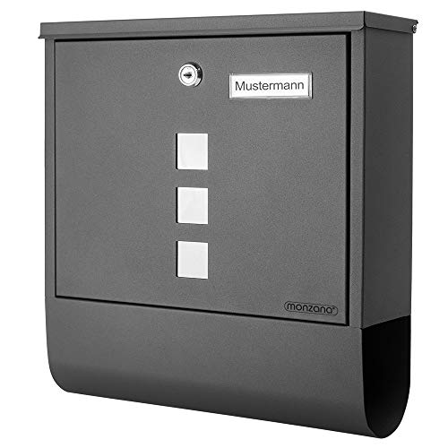 Monzana Design Briefkasten Stahl anthrazit mit Zeitungsfach...