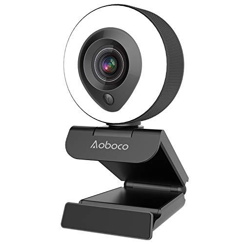 Aoboco 1080P Webcam mit Ringlicht, HD Facecam mit Mikrofon,...