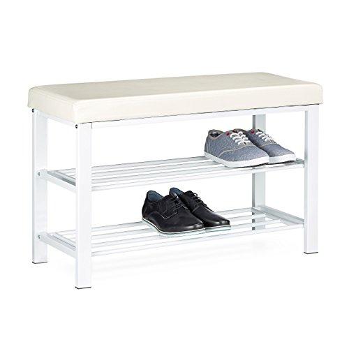 Relaxdays Schuhbank, offen, für 6-8 Paar Schuhe, Schuhregal...
