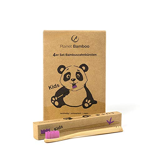 Planet Bamboo: 4er Pack Bambus Zahnbürsten (Kinder | Medium...