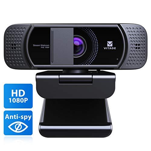 Webcam 1080P mit Mikrofon und Abdeckung, Vitade 672 HD USB...