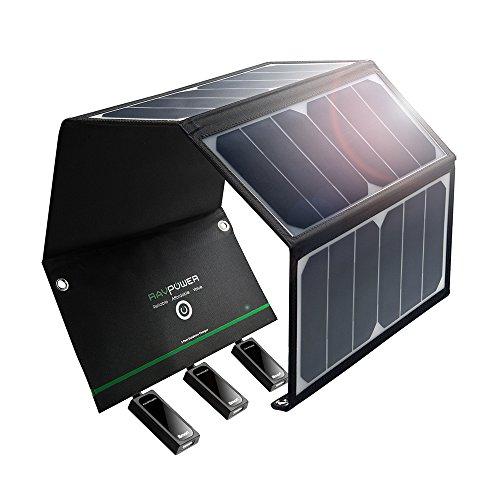 RAVPower 24W Solar Ladegerät mit 3 USB Port, USB Solar...