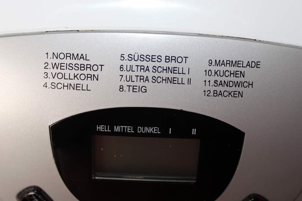 Brotbackmaschine mit 12 Programmen