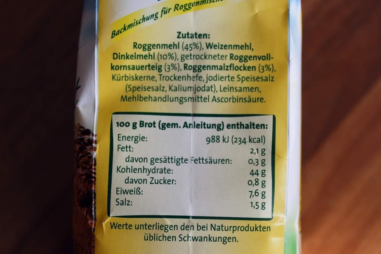 Nährwerte der Aurora Brotbackmischung Roggen-Dinkel
