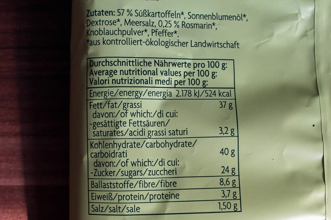 Nährwerte der Süßkartoffel-Chips