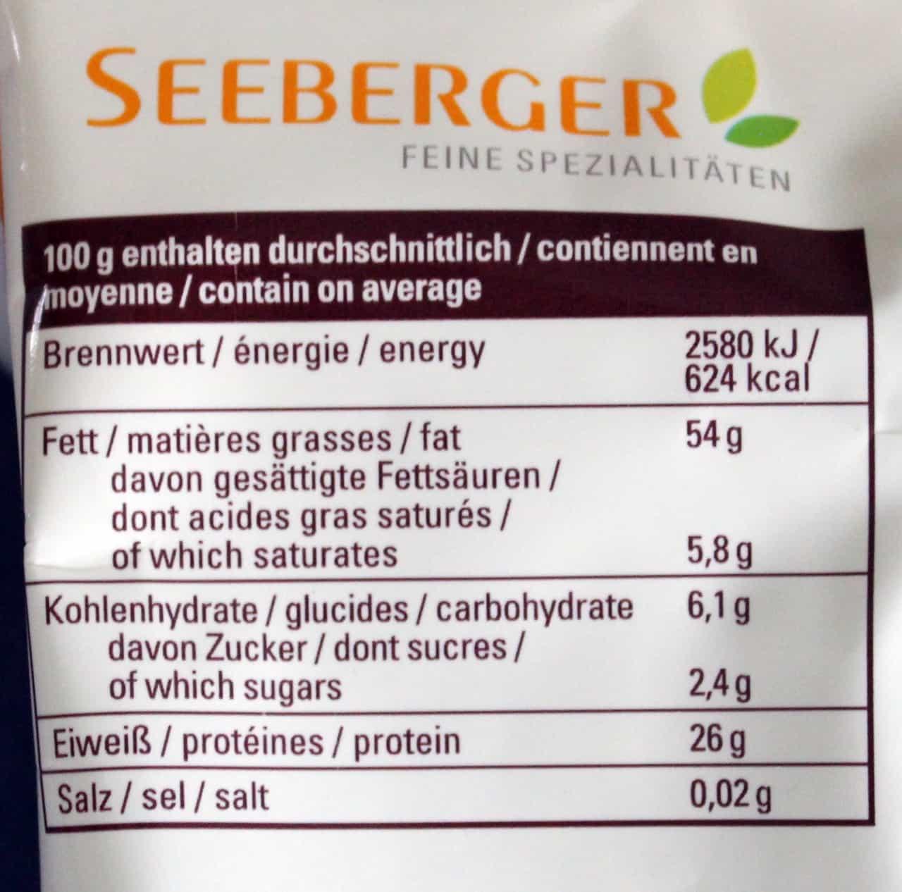 Nährwerte der Seeberger Sonnenblumenkerne - Gesund?